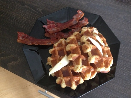 These waffles didn't need bacon on the side, but in my mind, they earned it.